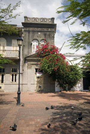 house with flowers in duarte park zona colonial santo domingo dominican republic  photo
