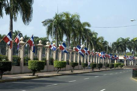 santo: row of flags national palace guard santo domingo dominican republic