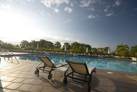 inground: swimming pool luxury hotel on the malecon santo domingo Stock Photo