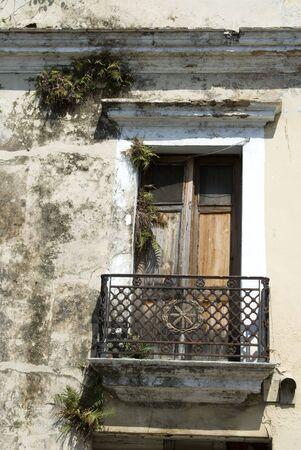 old balcony with wrought iron santo domingo, dominican republic photo