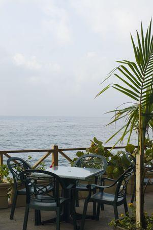 santo: restaurant by the sea malecon santo domingo dominican republic Stock Photo
