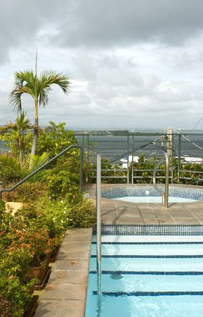 roof top plunge swimming pool and hot tub luxury hotel old san juan puerto rico photo