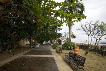 famous industries: parque de las palomas dove park with view of capilla de cristo christs chapel old san juan puerto rico Stock Photo
