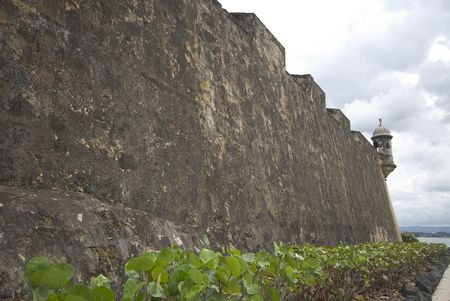 sentry: the wall el morro sentry box lookout old san juan, puerto rico