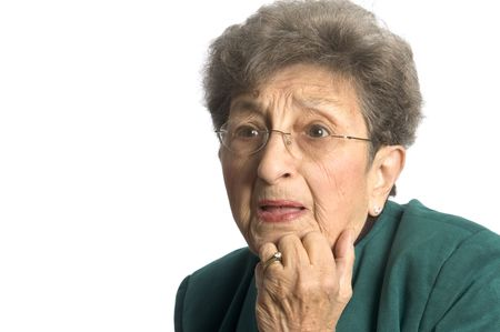 senior woman shocked and surprised expression on face photo