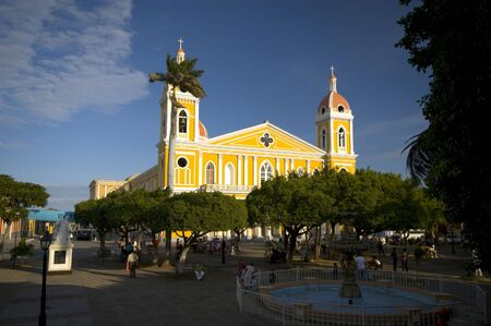 church granada nicaragua view from central park colonial town