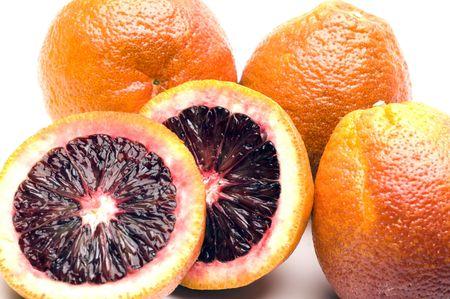 florida citrus: blood oranges citrus fruit in wicker basket group fresh