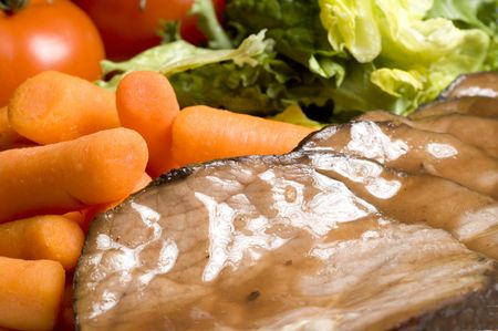 escarole: roast beef dinner with whole  carrots and salad