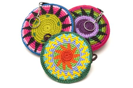 hand made woven change purses key chains souvenir central america Reklamní fotografie