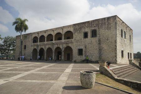 republic of dominican: plaza de la hispanidad and the alcazar de colon columbus museum santo domingo dominican republic Stock Photo
