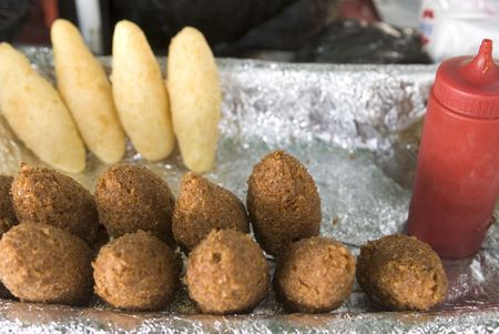 fritters: street food emanadas, johnny cakes, fritters from vendor dominican republic Stock Photo