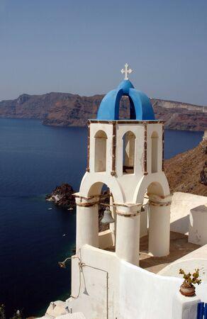santorini greek church bell tower over sea oia caldera cliffs Stock Photo - 1261522