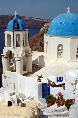 santorini greece: greek island church over aegean sea santorini greece Stock Photo