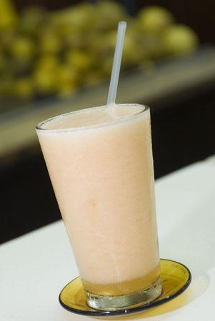 coffee blender: fresh fruit melon drink at local restaurant santo domingo dominican republic Stock Photo