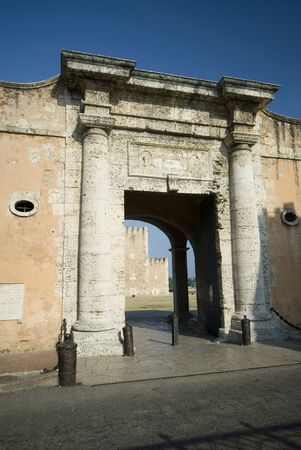 entrance to fortaleza ozama santo domingo, dominican republic the oldest colonial military building in the new world photo
