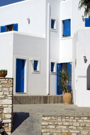 boxy: typical greek island architecture  guest house hotel cyclades islands greece Stock Photo