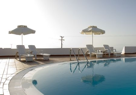 greek islands hotel swimming pool high key
