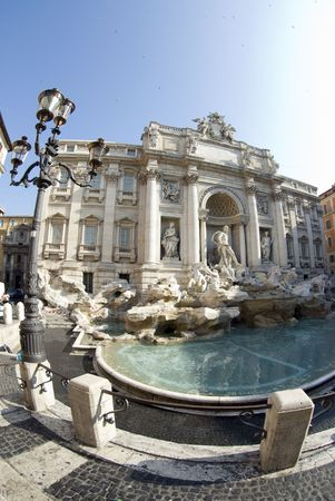 lampost: trevi fountain rome italy famous tourist attraction fontana