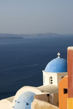 santorini classic church with greek island view  photo