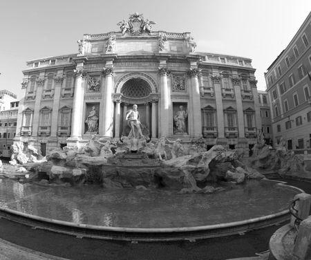 fontana: Fontana di trevi roma italia in bianco e nero  Archivio Fotografico