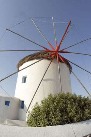 windmill famous classic greek islands mykonos greece architecture
