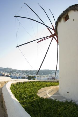 mykonos, windmill harbor town view greek islands Banco de Imagens