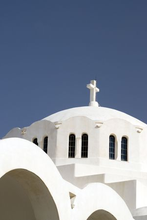 santorini famous greek island church thira town oia greece photo