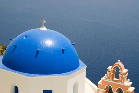 thira: greece greek island church with bell tower santorini thira Stock Photo