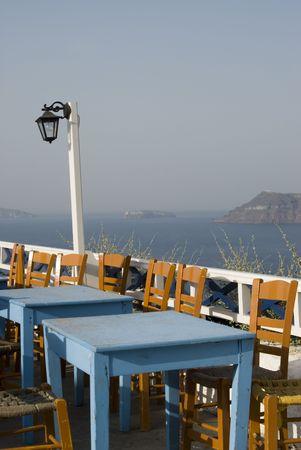 aegean: santorini greek islands taverna restaurant with sea veiw