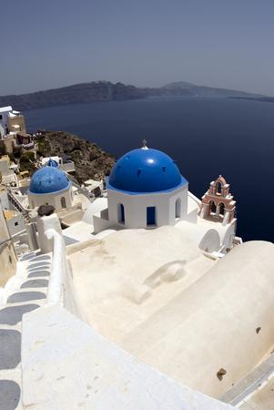 thira: santorini classic church with greek island view thira greece
