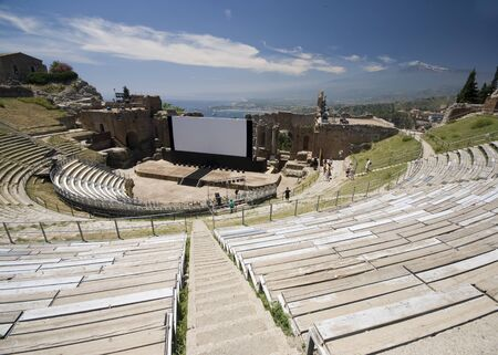 taormina italy sicily greek roman theater view of mount aetna etna