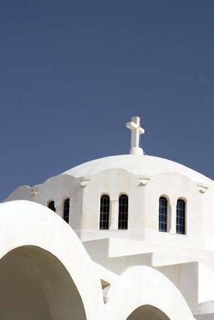 thira: santorini famous greek island church thira town oia greece Stock Photo