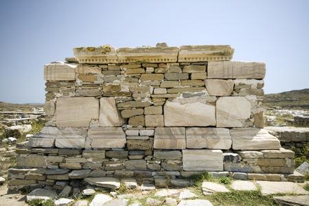 poros: poros temple oikos porinos ruins delos island greece