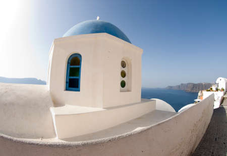 ia: classic greek island church over caldera oia ia santorini greece
