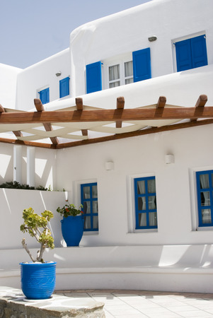 vasi greci: architettura tipica delle isole Cicladi greco Hotel Mykonos