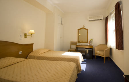 typical mid-price budget hotel room in athens greece photo