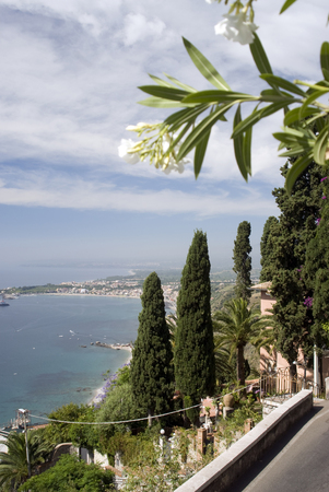 famous industries:  view from taormina italy  sicily above giardini naxos harbor bay