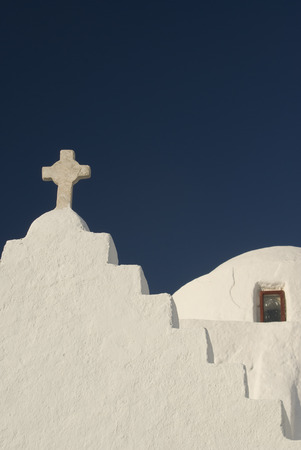 ancient beautiful greek church in the greek islands cyclades photo