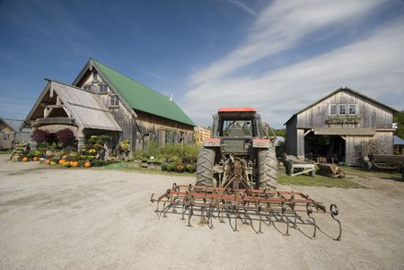 country store: farm machinery at garden center in rural vermont tractor tiller Stock Photo