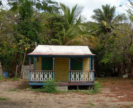 puertorico:   native island home in need of repair with tin roof Vieques, Puerto Rico       Stock Photo