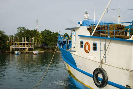 lobster boat: lobster trawler boat inport at brigs bay corn island nicaragua caribbean
