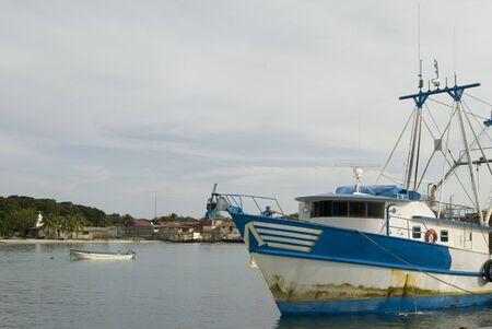 view of Brigs Bay Big Corn Island Nicaragua with fishing boats lobster trawler Stock Photo - 2170996