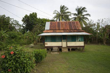 residence: native house residence with tin roof nicaragua corn island caribbean Stock Photo