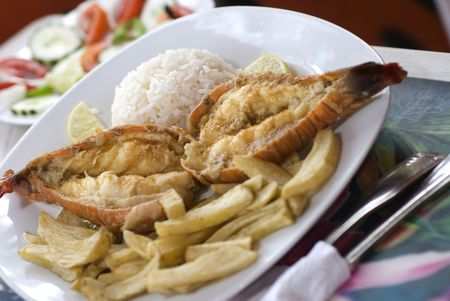 caribbean lobster tails warm water with french fries rice and salad Stock Photo - 2183190