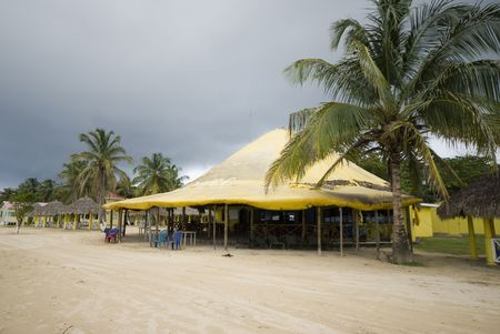 corn island: picnic center beach caribbean corn island nicaragua central america with restaurant and hotel Stock Photo