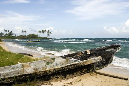 damaged boat on sally peaches beach big corn island nicaragua central america Stock Photo - 2183204
