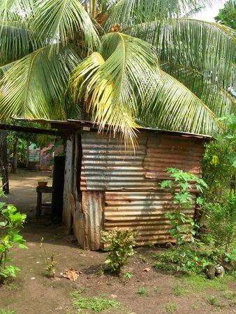native house sheet metal tin jungle big corn island nicaragua central america