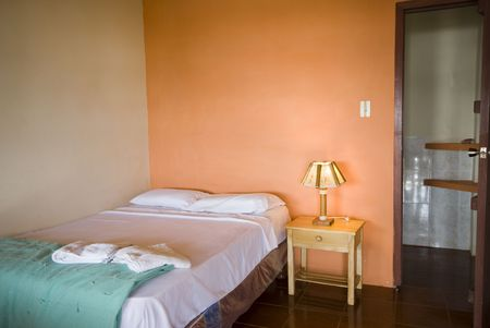native hotel room on the ruta del sol route of the sun in montanita ecuador south america Stock Photo