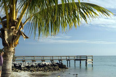 pier over atlantic ocean gulf of mexico florida keys sunset park key colony Stock Photo - 2683629