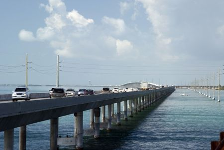 mile: seven mile bridge florida keys between gulf of mexico and florida strait us route 1 the overseas highway Stock Photo